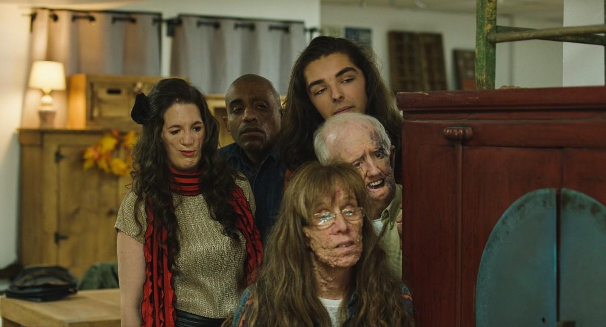"Alison Midstokke, E.R. Ruiz, Robin L'Houmeau, David Roche, and Cyndy Nicholsen in, ""Happy Face."""