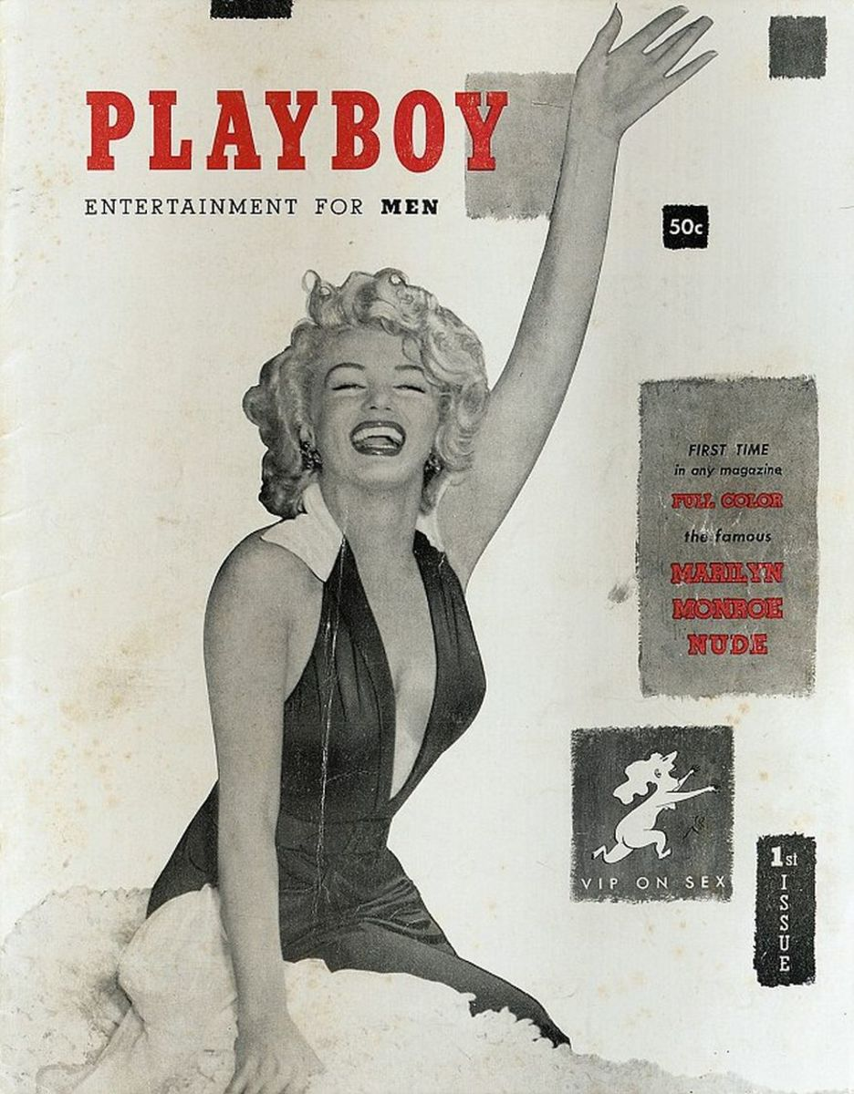 Marilyn Monroe on the cover of the first issue of Playboy, 1953.