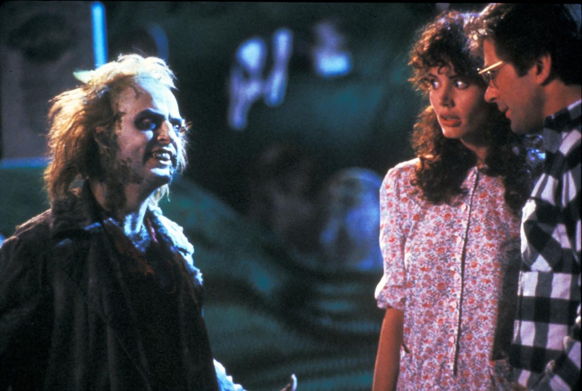 Michael Keaton (Betelgeuse), Geena Davis (Barbara) and Alec Baldwin (Adam).