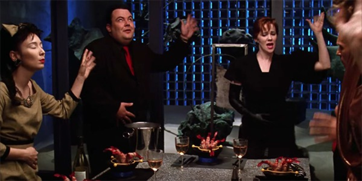 The iconic dinner party scene.
