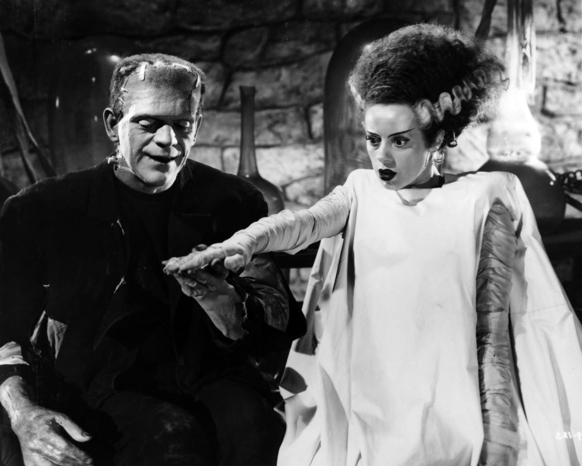 Boris Karloff & Elsa Lanchester in The Bride of Frankenstein (1935).