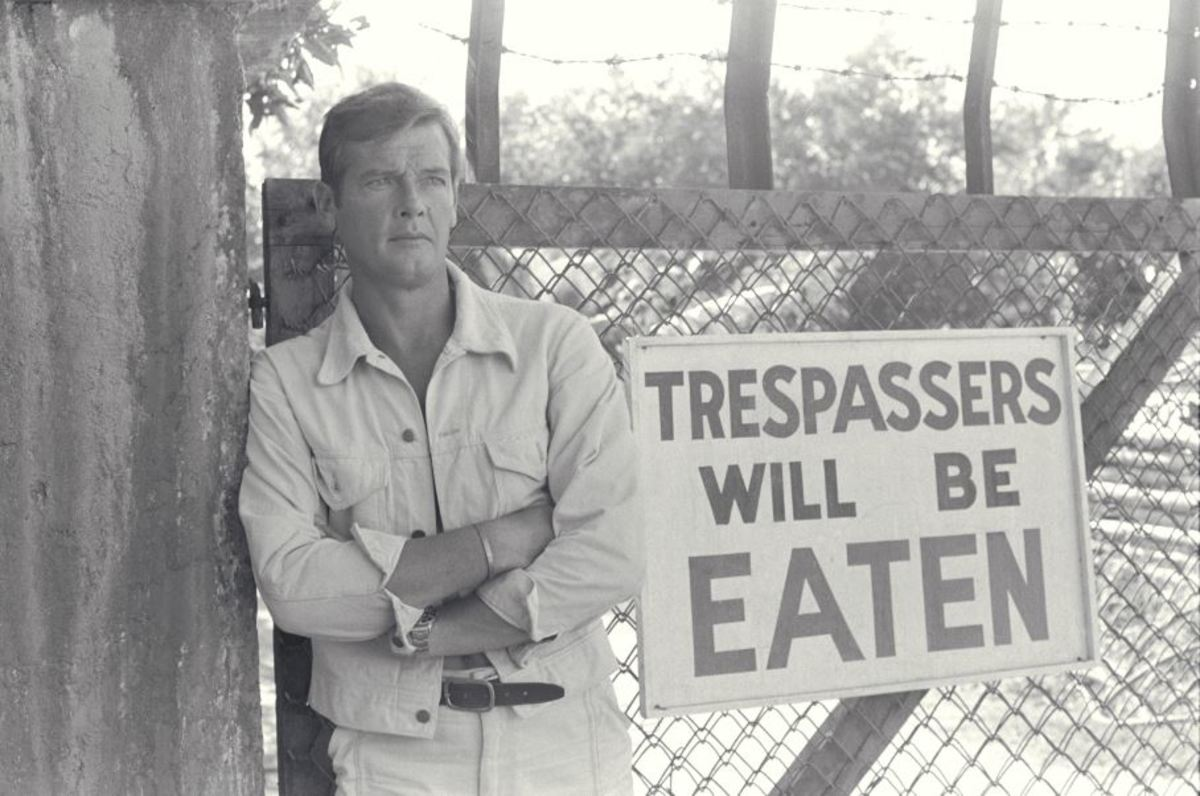 On a crocodile farm, Bond, now played by Roger Moore, discovers that signs sometimes express what they say!