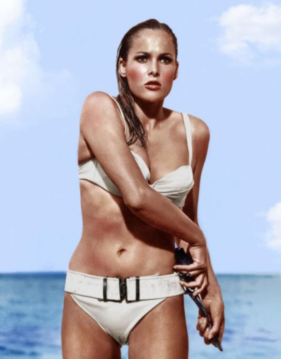 """Ursula Andress is the most famous bond girl in her white bikini for """"Dr. No."""""""