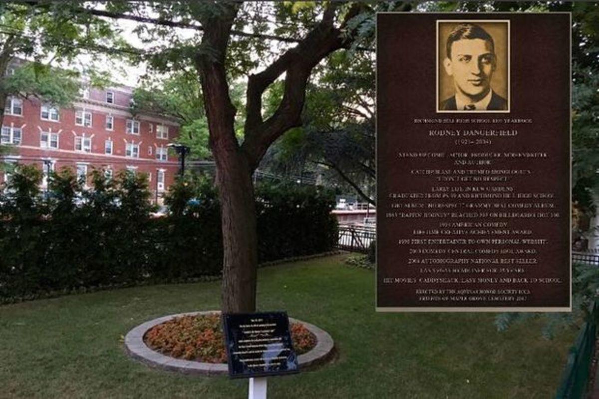 Kew Garden plaque honoring Rodney Dangerfield