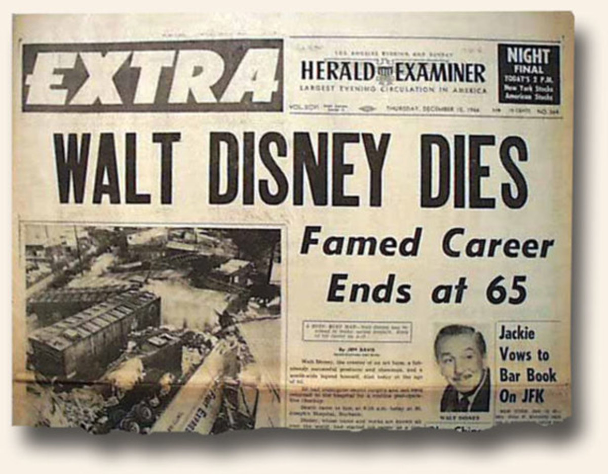 Newspaper announcing death of Walt Disney
