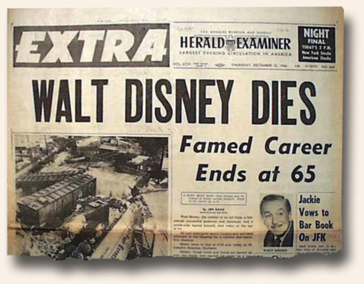 Newspaper announcing death of Walt Disney