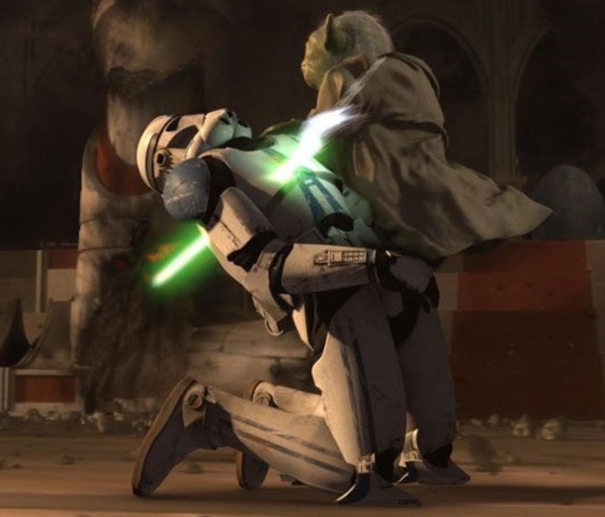 Yoda impales a  clone trooper