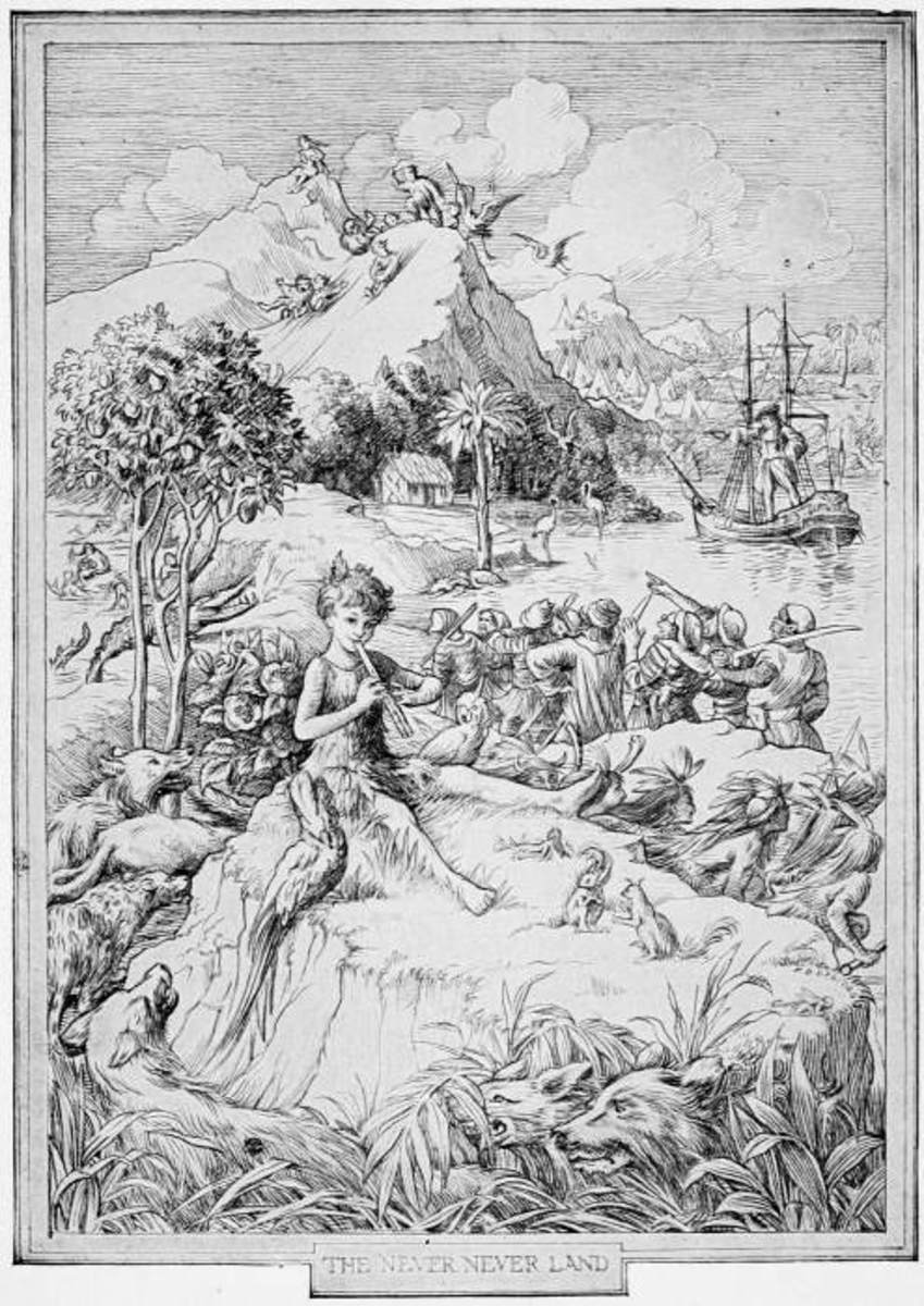 Illustration of Peter Pan and Neverland by F. D. Bedford.