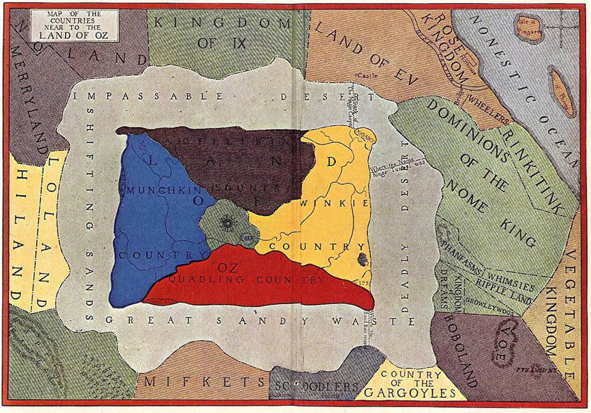 Map of Oz. In Frank Baum's novels, Oz was surrounded by a desert. The desert magically protects the people of Oz from invasion by other kingdoms.