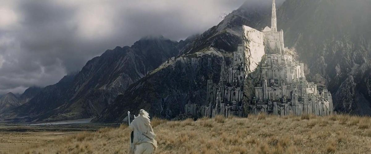 The magnificent stronghold of Minas Tirith, as seen in 2003's The Return of the King. In Lord of the Rings lore, this was the capital of Gondor and one of the most important cities of Middle Earth.