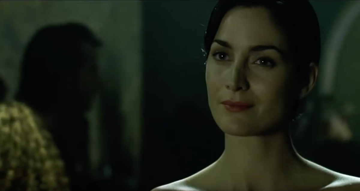 Trinity (Carrie-Anne Moss) is an infamous and mysterious computer hacker who guides Neo to Morpheus (Laurence Fishburne).  Neo is shocked when he discovers that Trinity is not a guy but a beautiful woman.