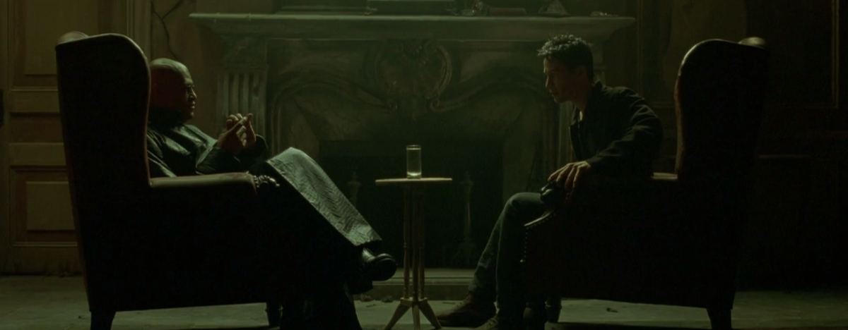 Trinity contacts Neo and guides him to Morpheus (Laurence Fishburne).