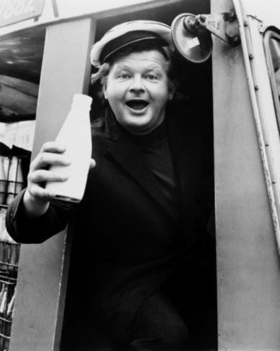 Benny Hill working as milkman