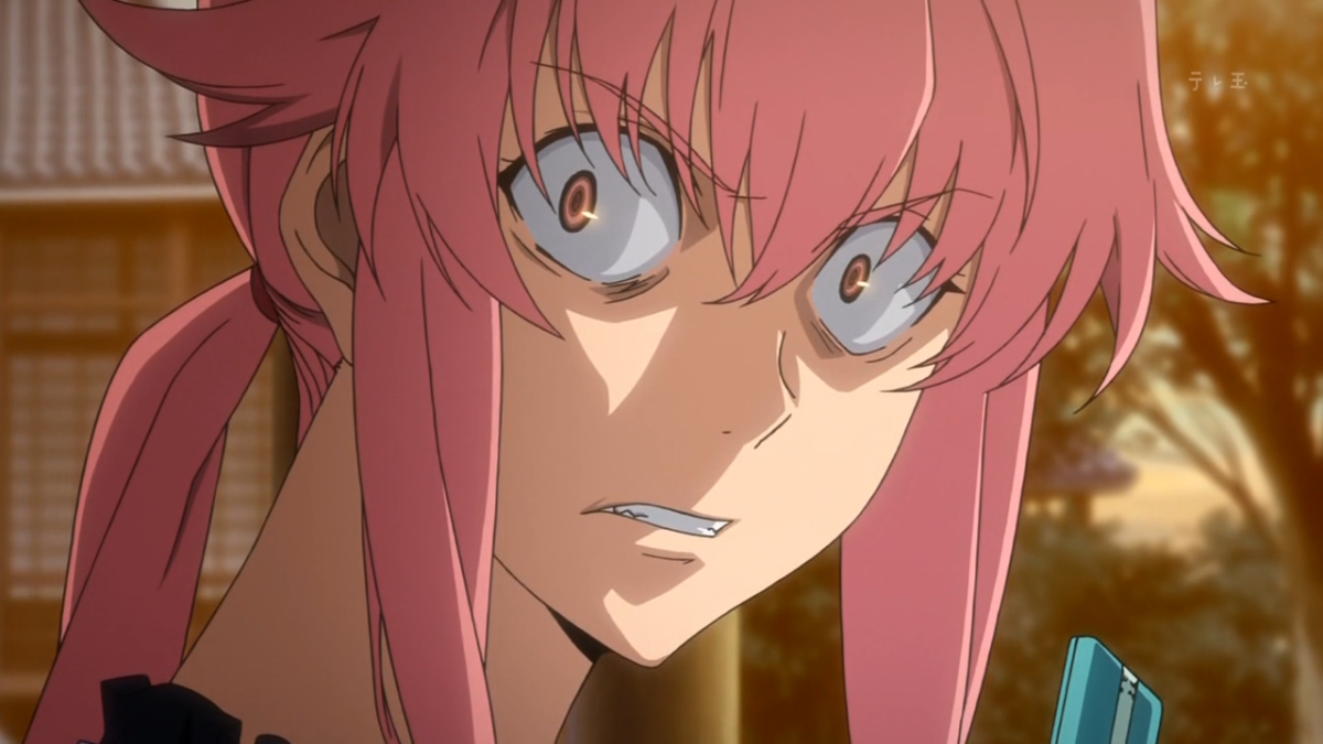 Yuno Gasai should need know introduction, as she pretty much defined yandere characters, in a series that defined Battle Royale. © Asread, Licensed in North America by Funimation.