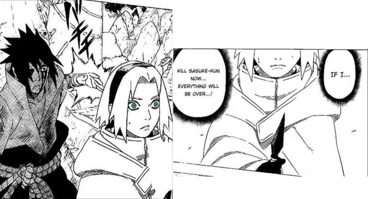 Sakura attempting to kill Sasuke while he was rogue.