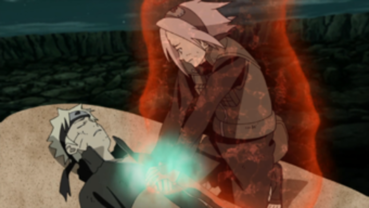Sakura healing Naruto during the war.