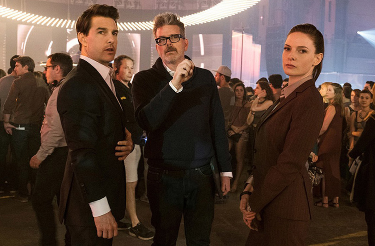 Tom Cruise (left); Christopher McQuarrie (middle); and Rebecca Ferguson (right)