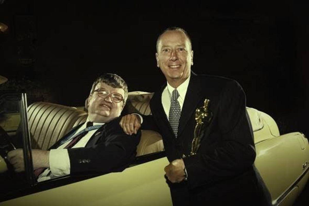 Kim Peek and Barry Morrow with Academy Award