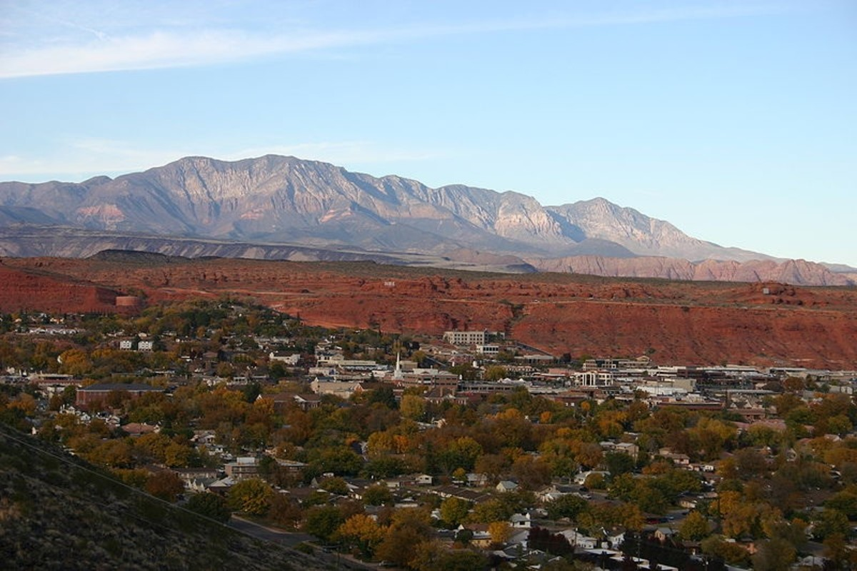 An overlook of St. George and the adjacent Pine Valley Mountains.