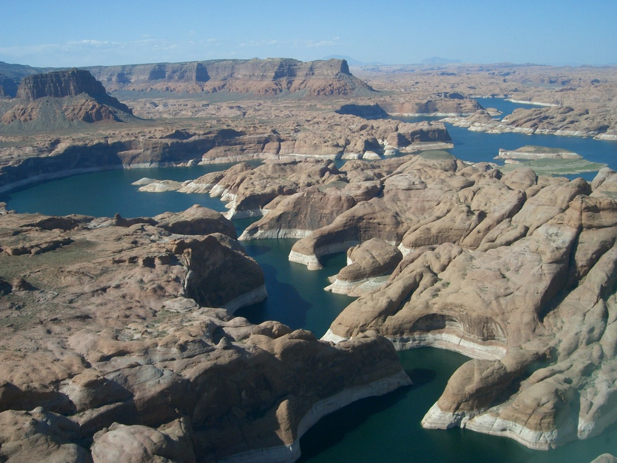 An aerial view of Lake Powell.