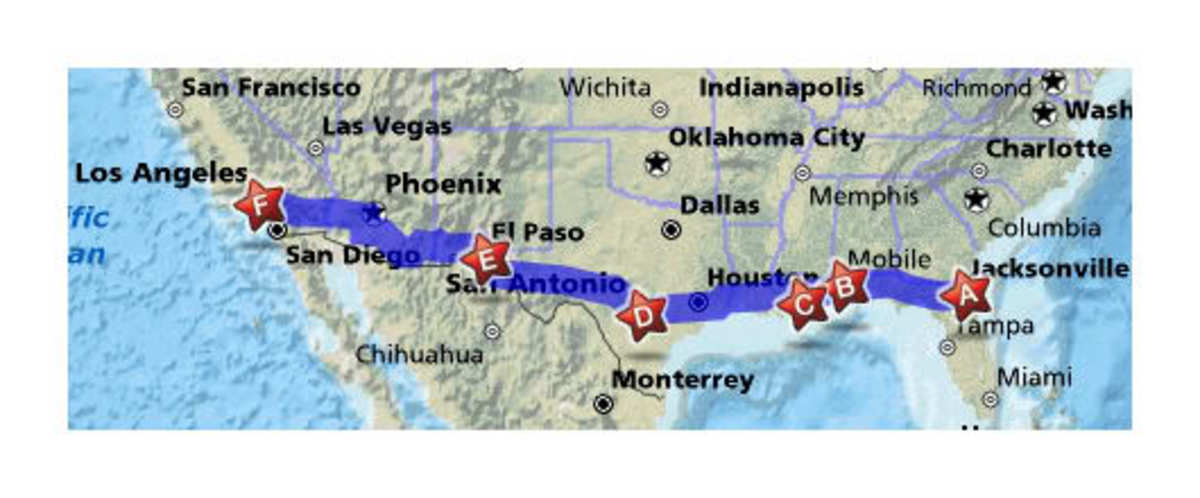 Interstate 10 runs from coast to coast, covering a total of 3,960 miles.
