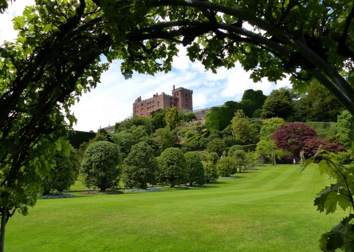 Tranquil gardens of Powis Castle in beautiful Welshpool.
