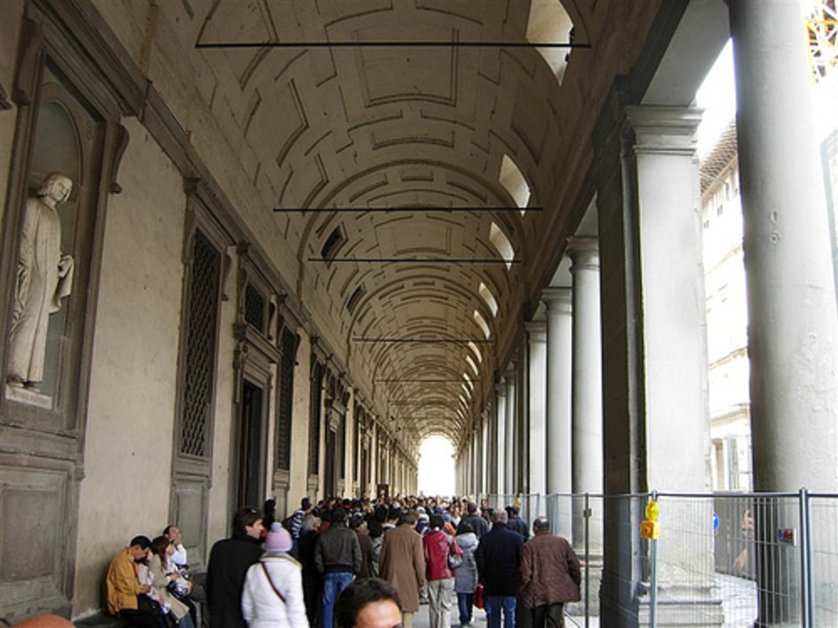 The long, long, long queue for the Uffizi Gallery
