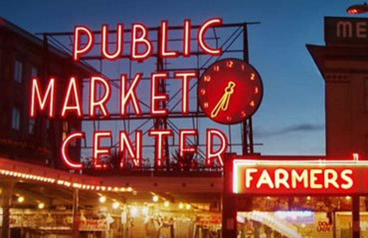Pikes Place Market sign in Seattle