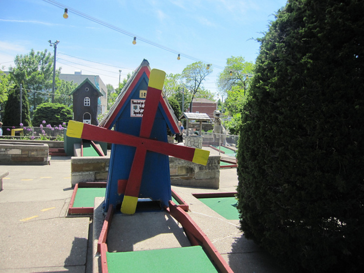 Proverbial windmill on the Bunny Hutch course in Lincolnwood, Illinois.