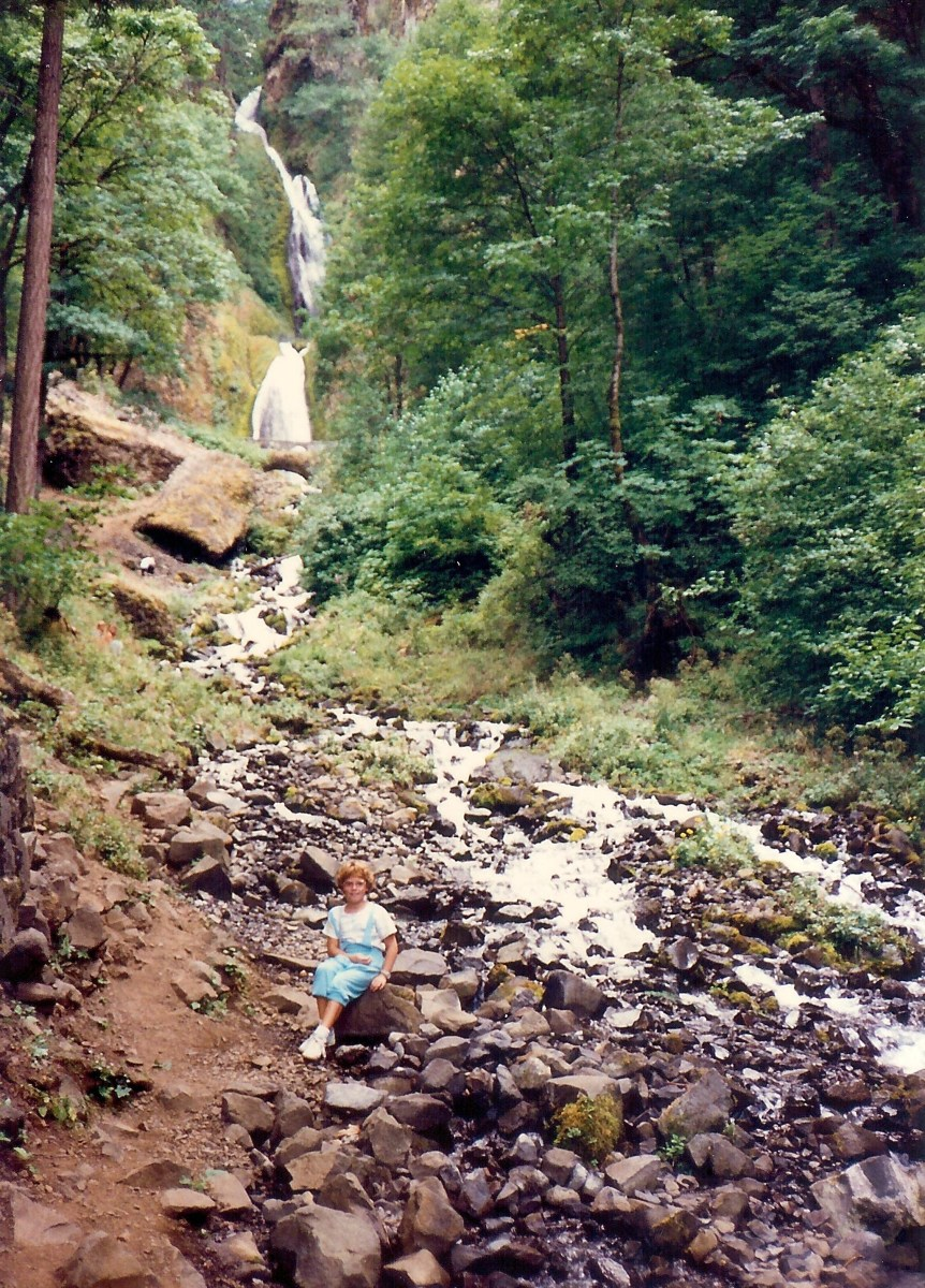 My niece at Wahkeenah Falls along the Columbia River Gorge in Oregon