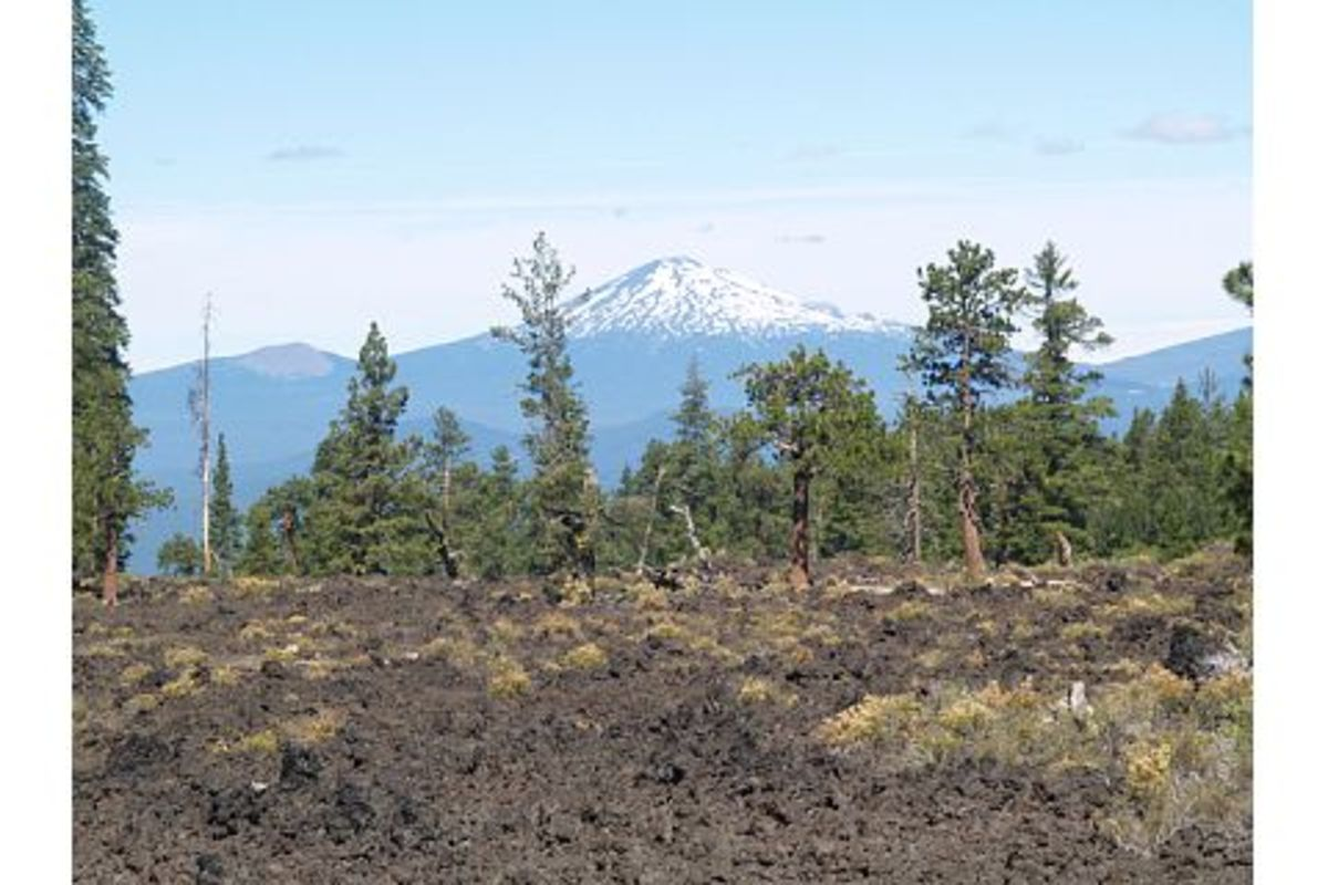 Mt. Bachelor in the west over the lava flow in Central Oregon