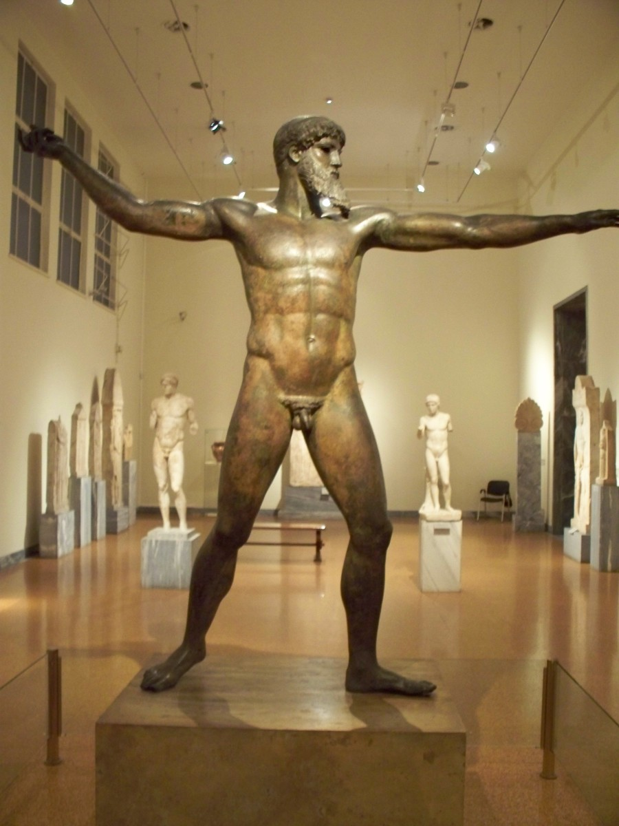 Is it Zeus or Poseidon?  It all comes down to whether he held a bolt or a trident.