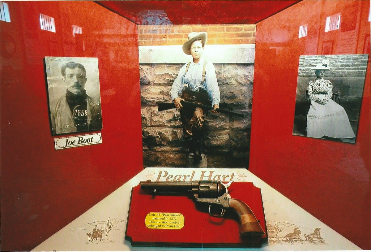 Pearl Hart's gun on display in the Yuma Territorial Prison museum.