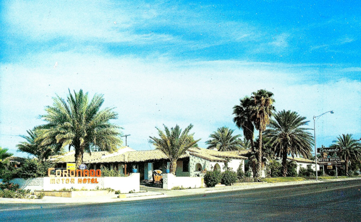 Vintage postcard of the Coronado Motor Hotel in Yuma, Arizona