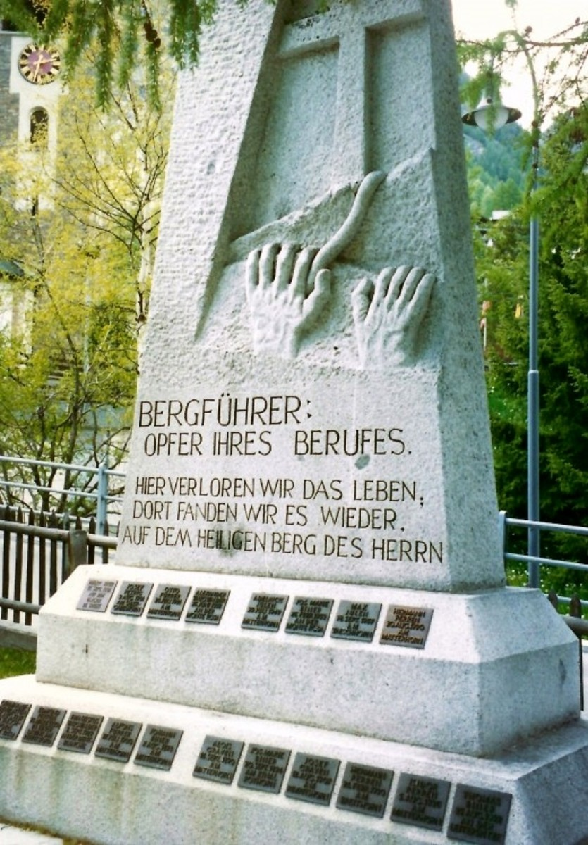 Monument dedicated to the guides who lost their lives in Zermatt, Switzerland