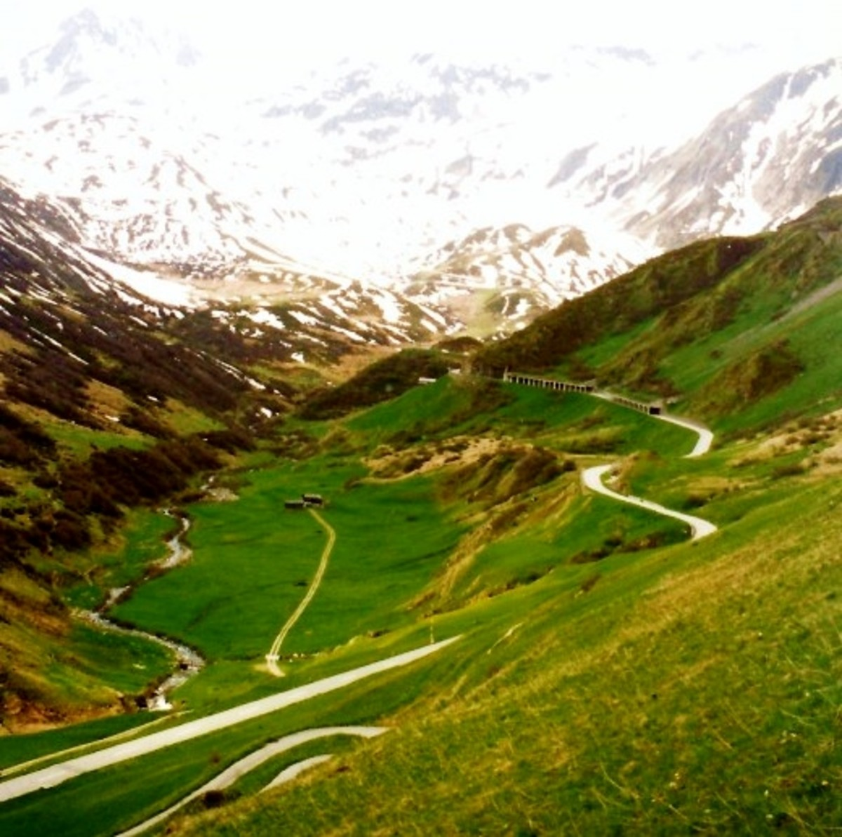 Meandering roads take one to locations in the Swiss countryside.