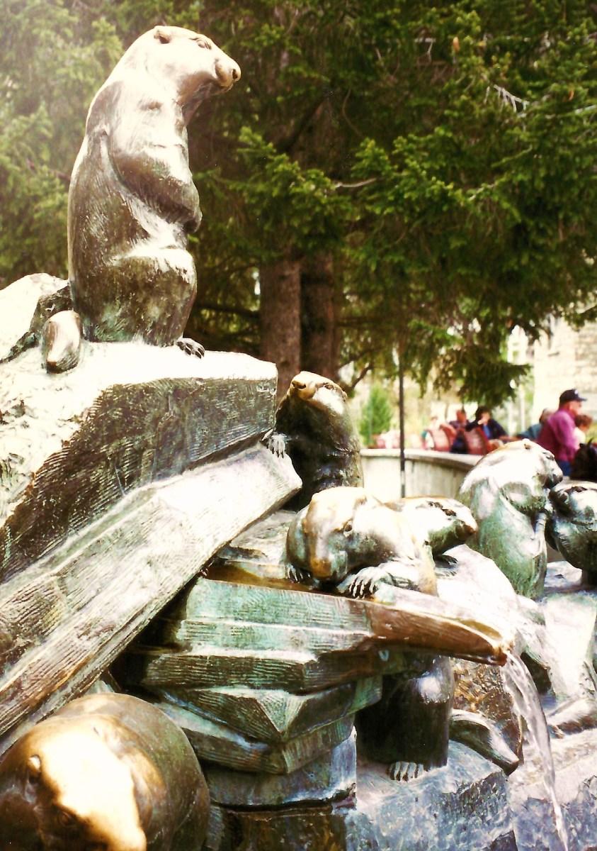 Beaver sculpture and water fountain - Images in Zermatt, Switzerland