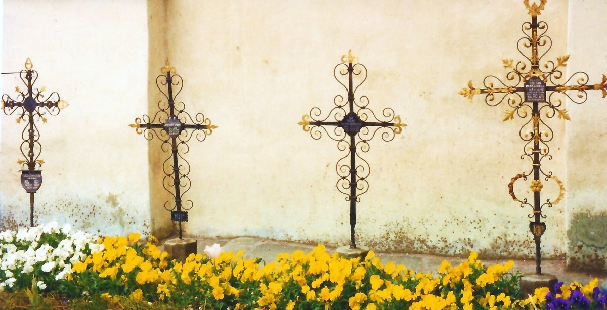 Photo of grave markers outside the church