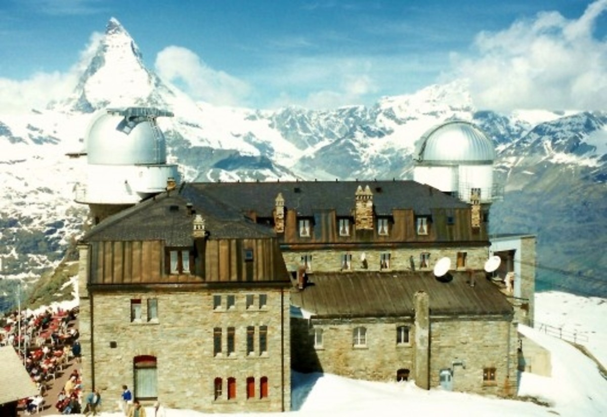 Up at Gornergrat / High Altitude Research Station / Matterhorn - Looking down upon the international research station from above.