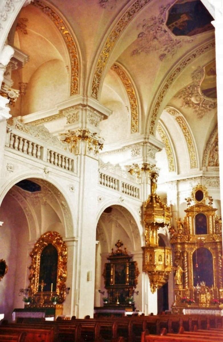Inside the church in Disentis, Switzerland