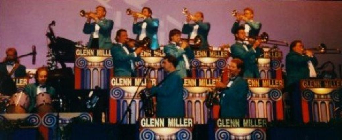 The Glenn Miller Orchestra on stage at the Blue Velvet Theater.