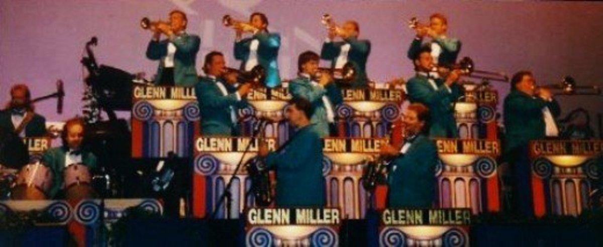The Glenn Miller Orchestra on stage at the Blue Velvet Theater.