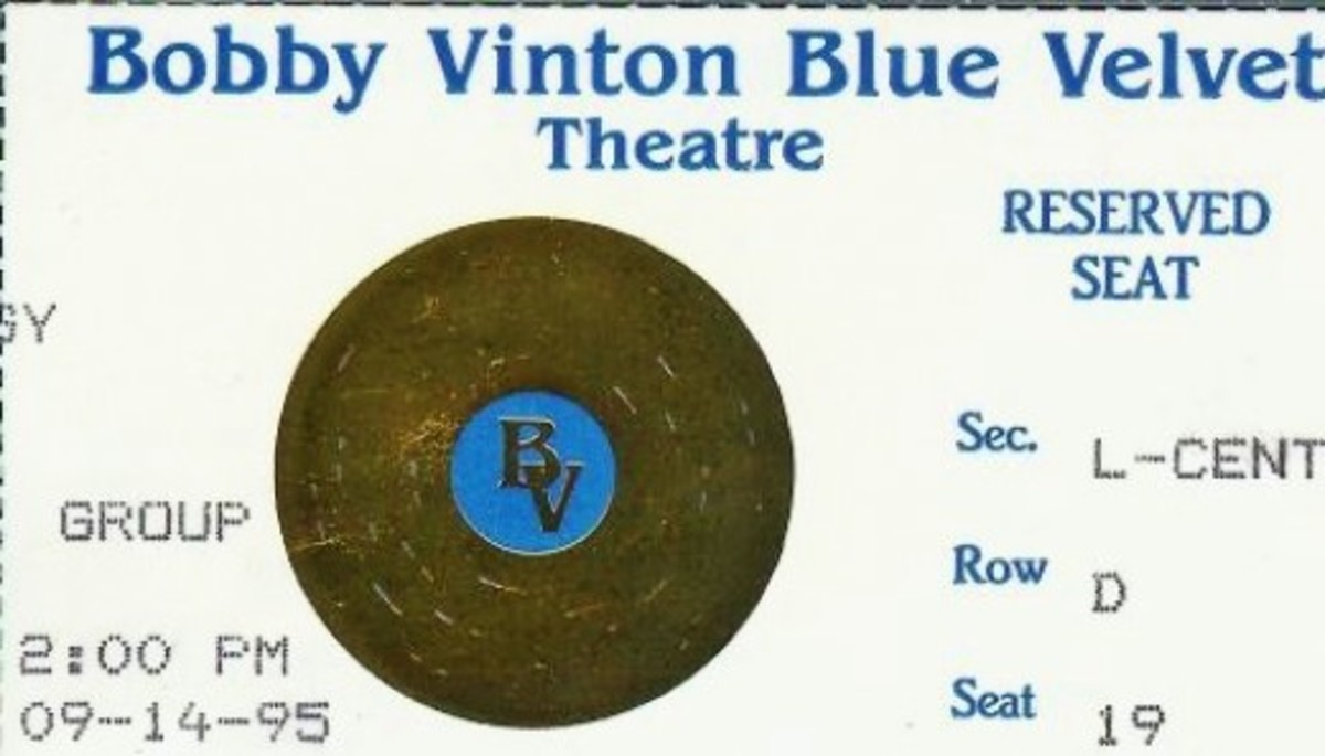 One of Our Ticket Stubs From Bobby Vinton's Show in Branson, Missouri