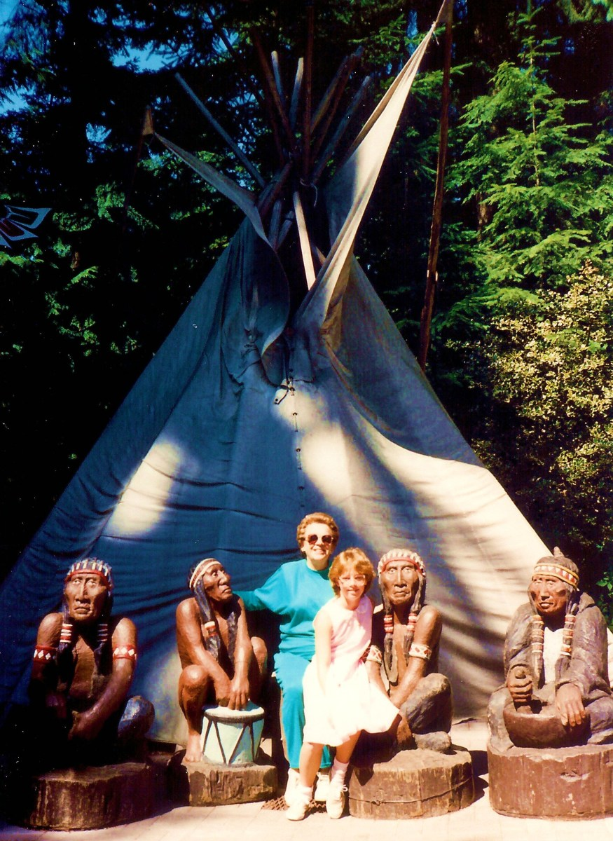 "My mother, niece and the ""Indians"" camped out at their tepee"