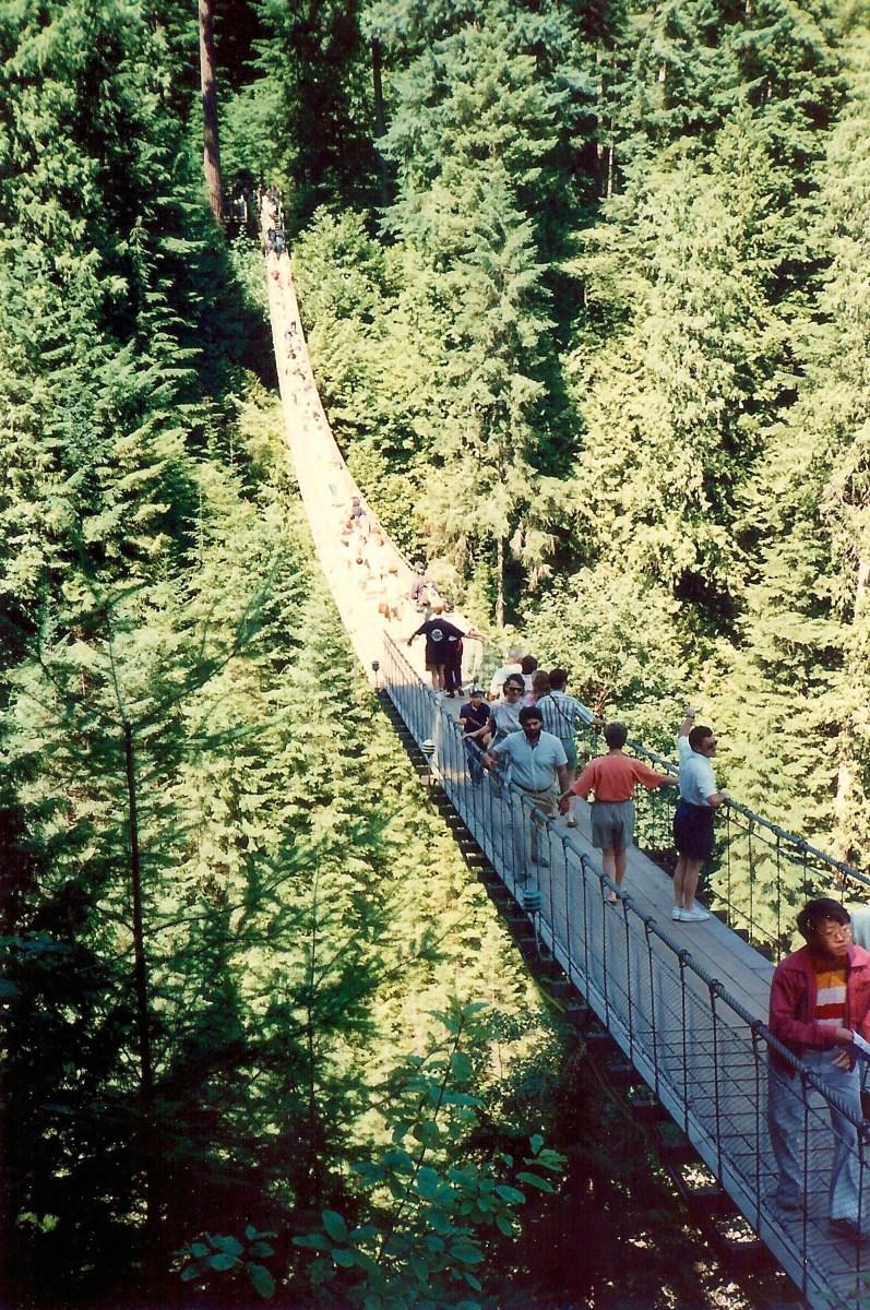 The long Capilano Suspension Bridge
