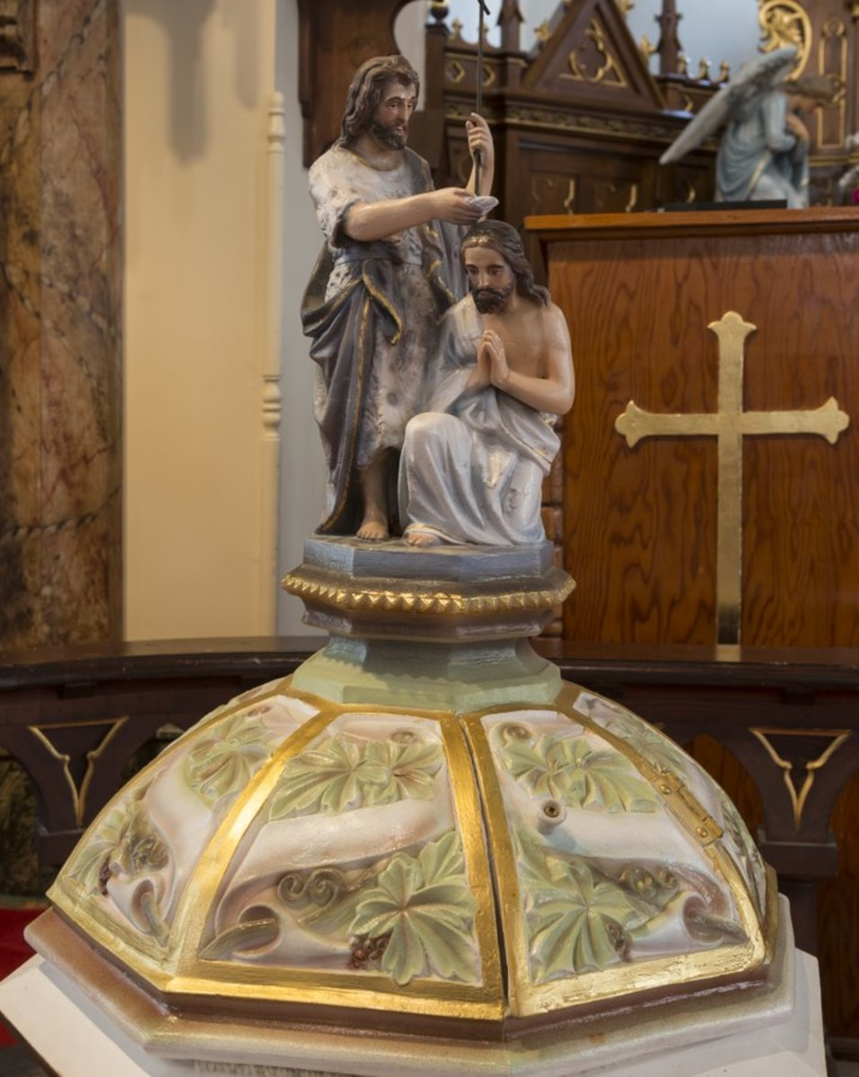 Baptismal font of the Nativity of Mary, Blessed Virgin Catholic Church, also known as the St. Mary Catholic Church, in High Hill, a little community near Schulenburg in Fayette County, Texas