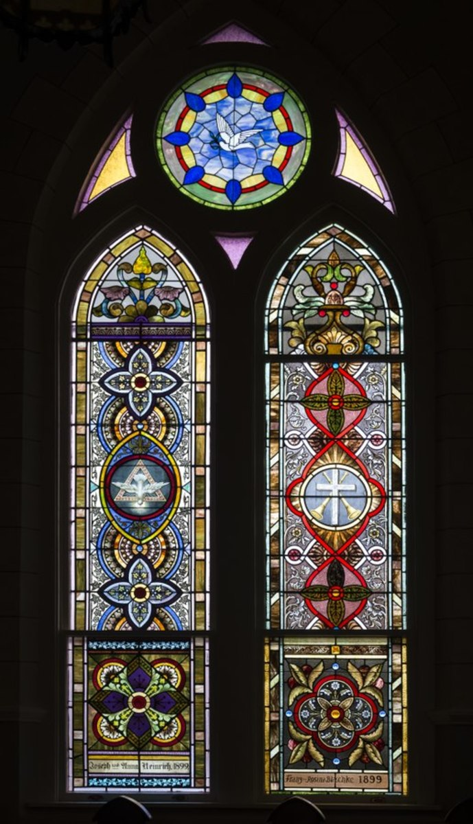 Stained-glass window at the Nativity of Mary, Blessed Virgin Catholic Church, also known as the St. Mary Catholic Church, in High Hill, a little community near Schulenburg in Fayette County, Texas