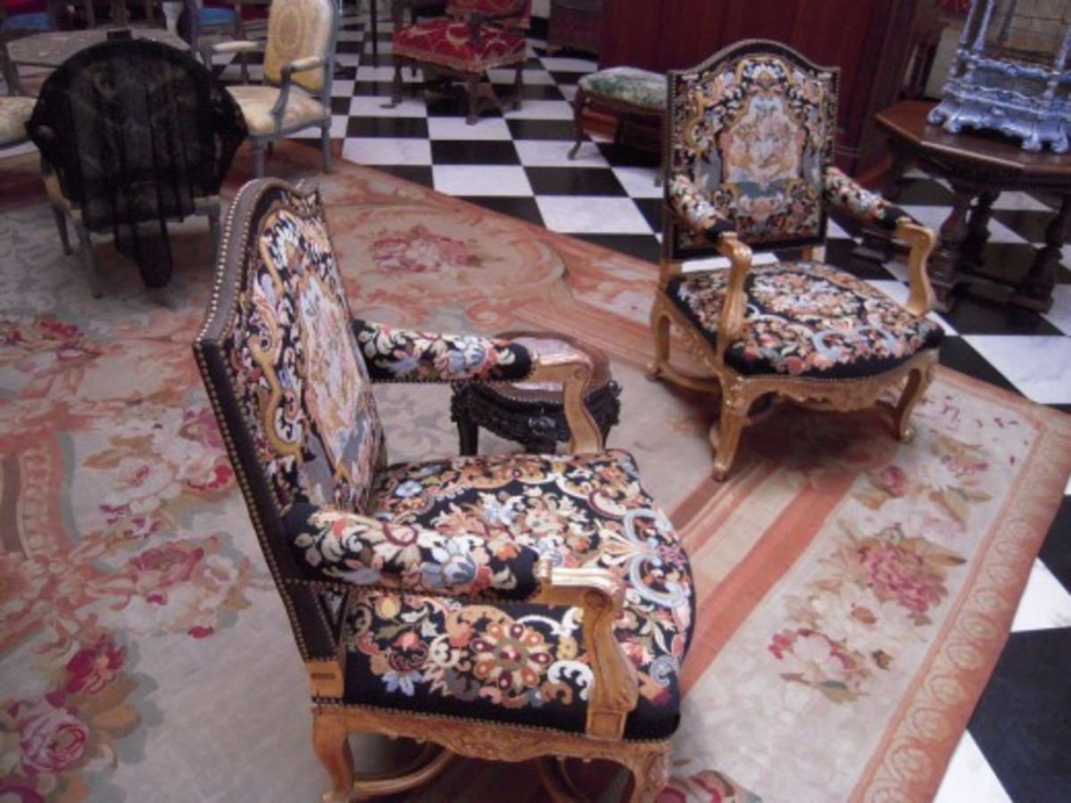 Wooden armchairs, carved and gilt, in The Ca' d'Zan, Sarasota, Florida, United States