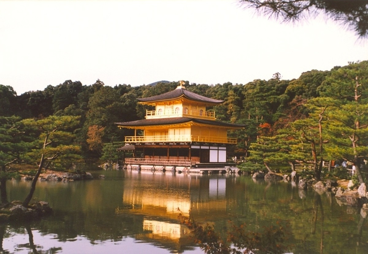 Classic view of the Golden Temple, Kyoto.