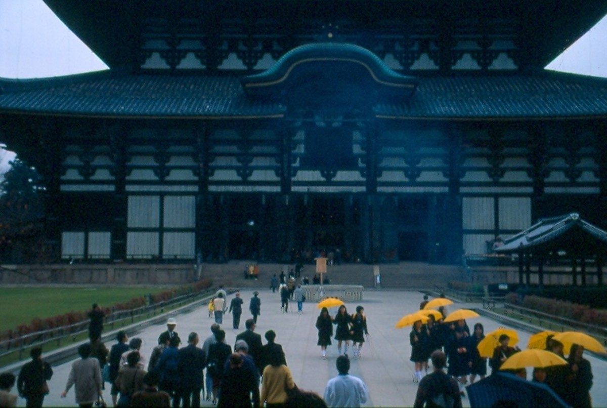 Approaching the massive Todai-ji Hall in Nara - the world's largest wooden building.